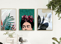 Nordic simple and clean plant leaves frameless painting plants flowers canvas painting