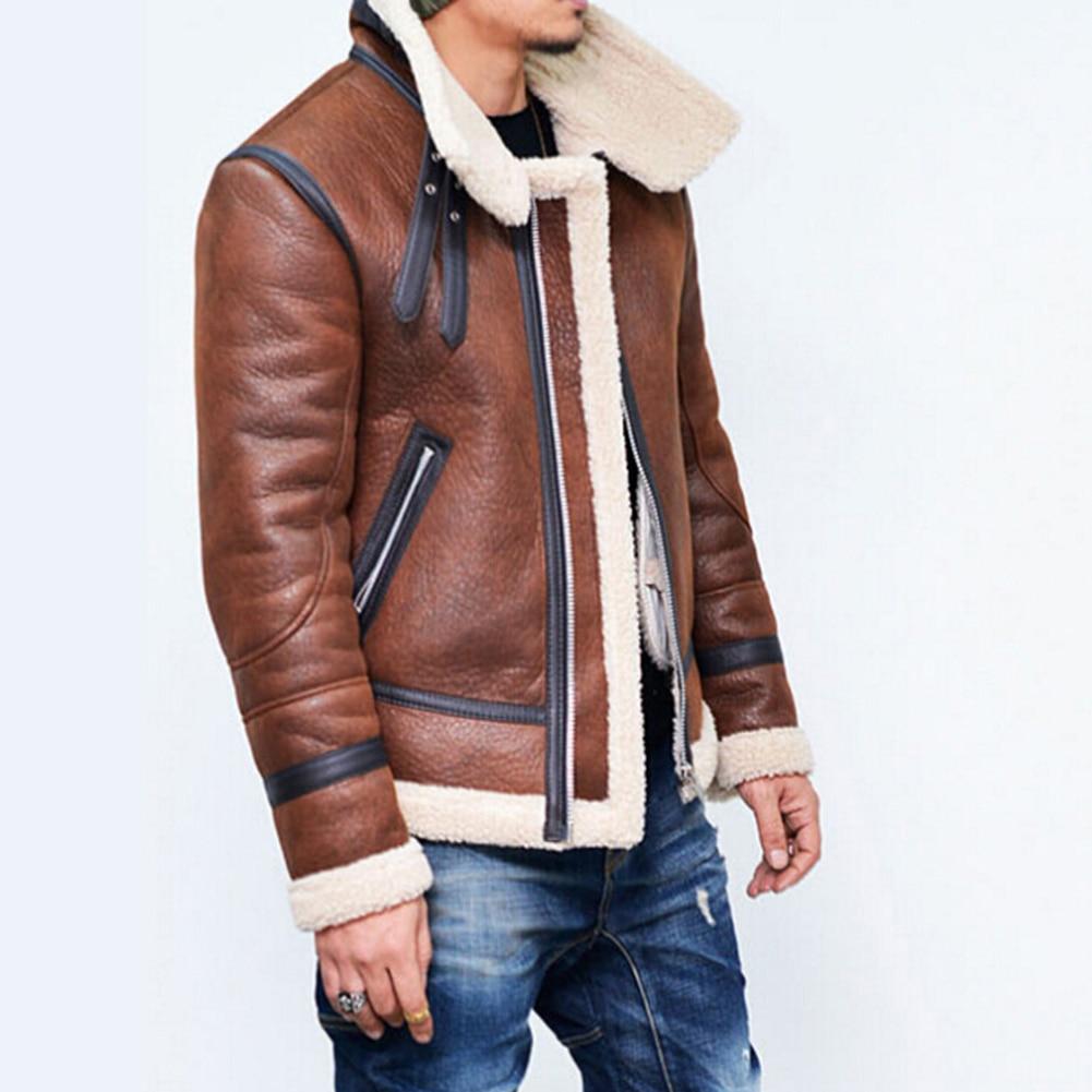 YJSFG maison marque hommes vestes en cuir synthétique polyuréthane hiver chaud fausse fourrure manteaux Biker moto épaisse veste Outwear court mâle neige hauts