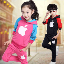 2016 Children's sports suit girls boys  children clothing set baby clothes/British wind fleece suits spring and autumn period