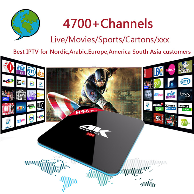 PRO IPTV+S912 H96PRO Android 6.0 2GB/16GB with 4700 Channels Nordic,Arabic,Europe,America South Asia IPTV with  Adult xxx Gift iptv evpad pro