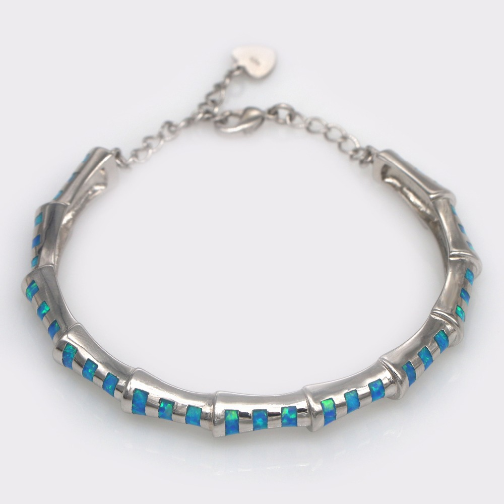 JZB0219 2018 New Design Bamboo Pattern Blue Fire Opal Bracelet Lady Pop Vintage Jewelry Gift