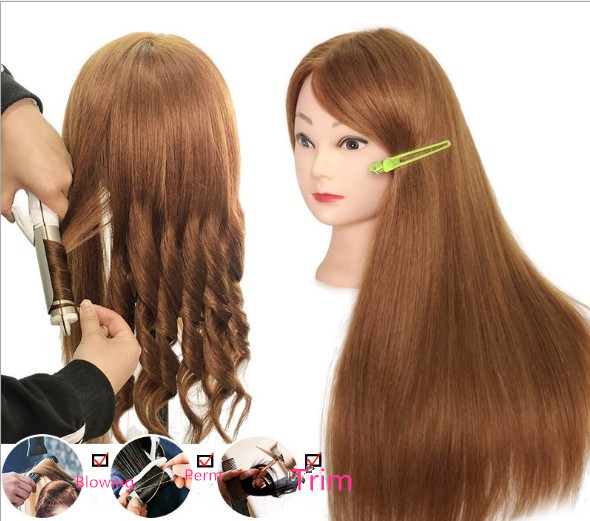 60CM golden 100% Real natural Hair Training Mannequin Head Curling Women Professional Hairdresser Practice