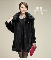 Women's Hooded Medium Long Skirt Coat Warm Faux Mink Fur Overcoat Hat Shawl Dual Use Collar Casaco Feminino Inverno 2017 E95