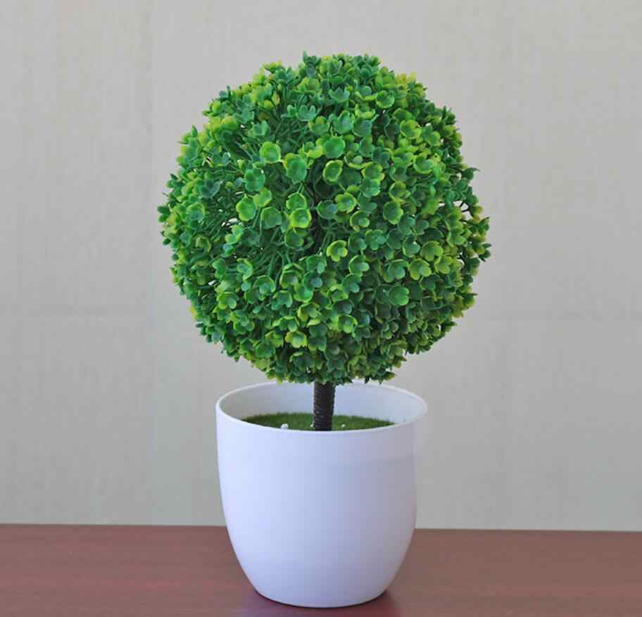Tanaman Buatan Bonsai Plastik Simulasi Pohon Desktop Pot Dekoratif Palsu Bunga Daun Tanaman Taman Rumah Kantor Hotel Diy