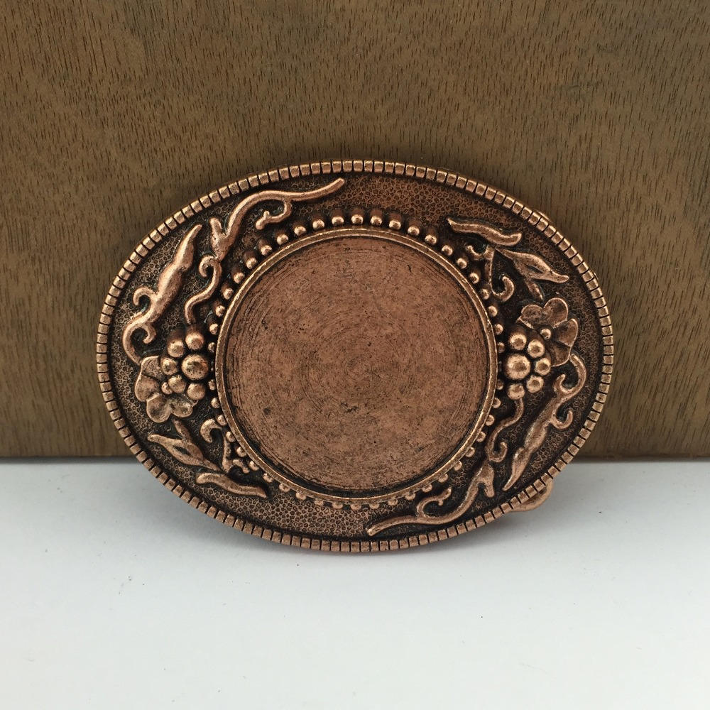 New Original Cut Out Vintage Bronze Plated Lucky Knot Oval Belt Buckle