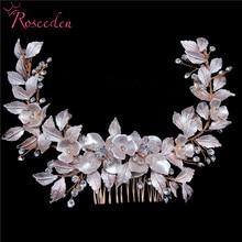 newly Rose Gold Wedding long Hair combs Handmade metal Flower Crystal wedding Hair Accessories Hair Ornaments Wholesale RE3486