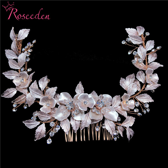 newly Rose Gold Wedding long Hair combs Handmade metal Flower Crystal wedding Hair Accessories Hair Ornaments Wholesale RE3486