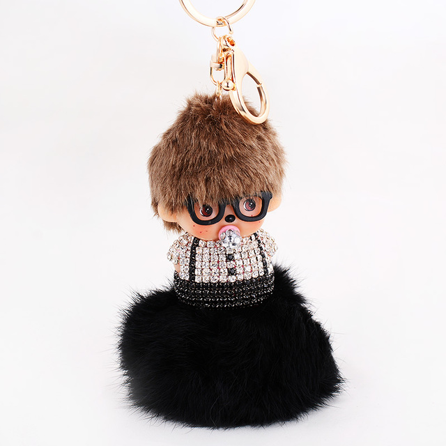 3 COlors Monchichi Doll Keychains Handmade Car Charms keychain find fur ball key chain Key Rings souvenirs Gifts
