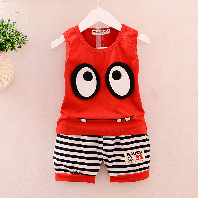 Baby Boy Clothes 2017 Summer Brand Cartoon Eyes Sleeveless Tops Vest + Striped Shorts Childrens Outfits Kid Bebes Jogging Suits
