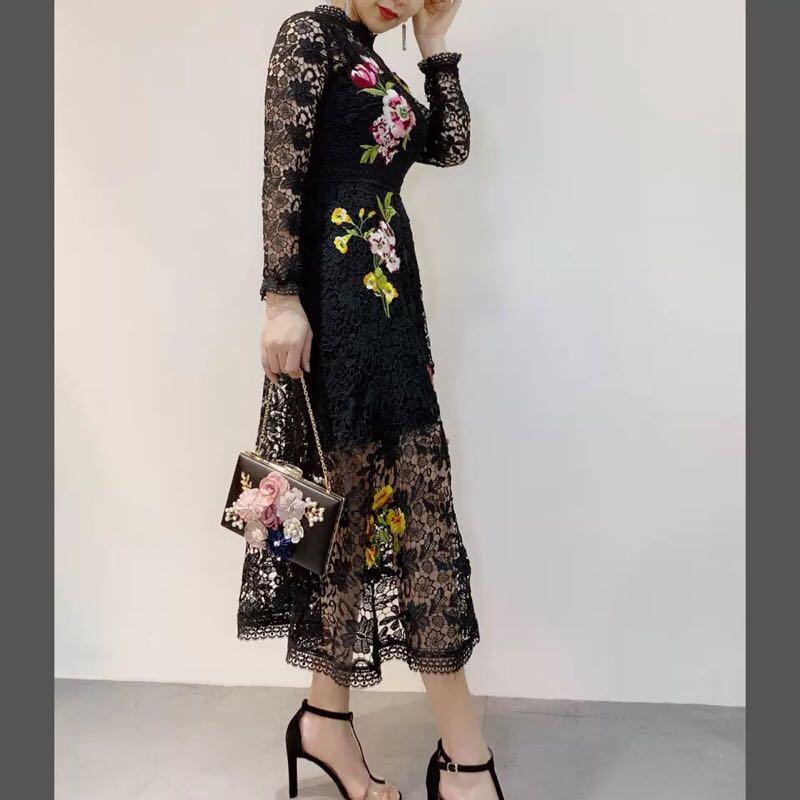 Design Style Noir blanc Marque Printemps Supérieure Partie 2019 Mode Robe Qualité Européenne Femmes Nouvelle Luxe Tfa01833 De 7UgqnS6