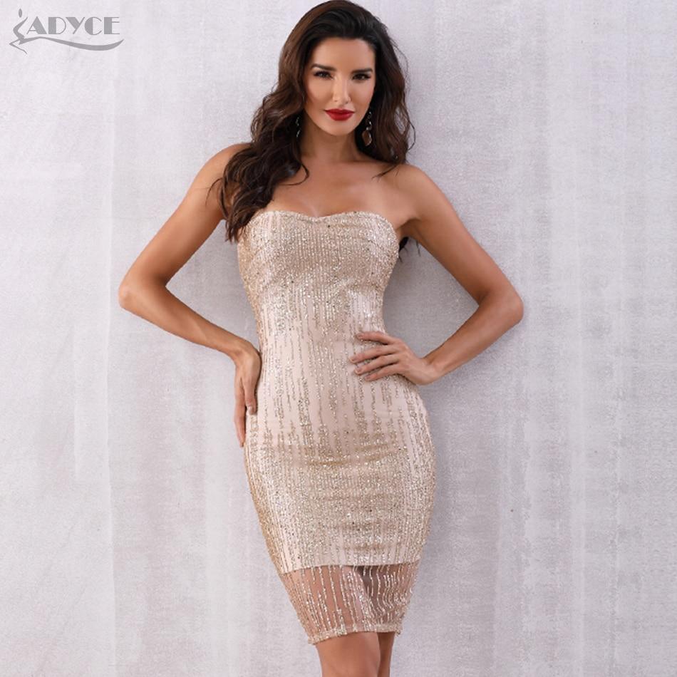 Adyce Summer Women Sequined Bandage Dress Vestidos 2019 New Sexy Strapless Sleeveless Club Dress Runway Celebrity