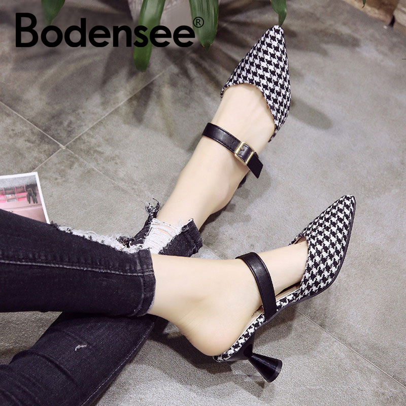 BODENSEE Women Shoes Slip-On Pointed Toe Woman Mid Heels Pump Crystal Women Transparent Heel Sandals Slippers Pumps
