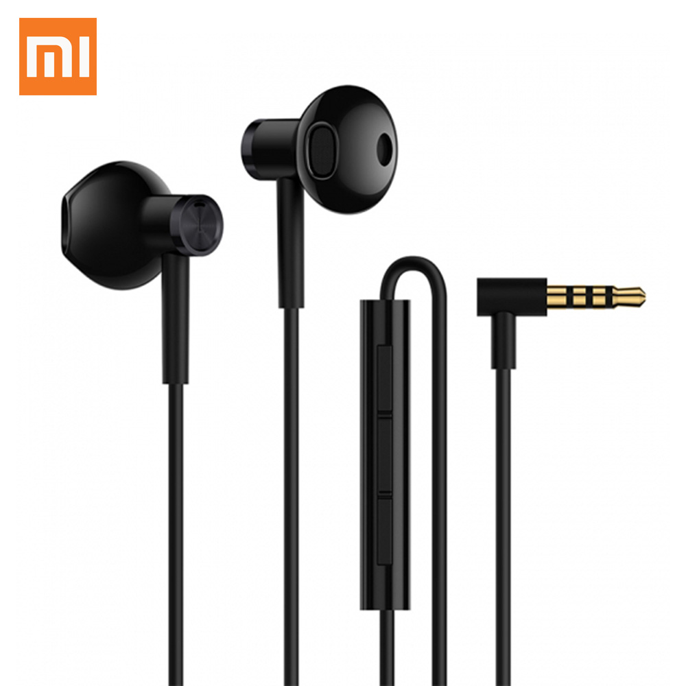 Original Xiaomi Dual Driver Earphones 3.5mm L-Shape MEMS Microphone Audio Hybrid DC Half In-Ear Earbuds Wire Control For Android