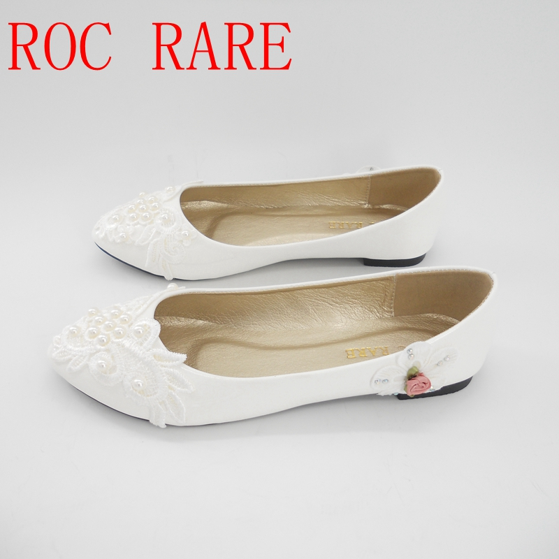 Handmade White Lace Pearls Women Wedding Shoes Flat Heel Comfortable Pregnant Bridal Shoes Lace Party Shoes 22 aidocrystal bridal white jewelry handmade women wedding bag and shoes set