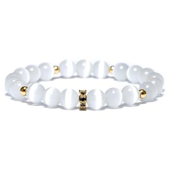 Noter Minimalist White Moonstone Beads Yoga Meditation Bracelet  1