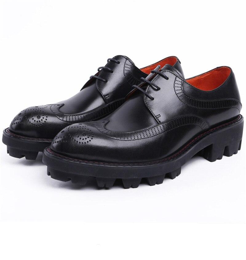 98ee3554 Negro marrón Boda Para Genuino Black Zapatos Hombres Cuero Negocio Tan  Oxfords Plataforma Moda Hombre De ...