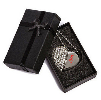 Custom Wedding Logo Crystal USB with Key Chain With elegant Box usb 3.0 memory flash stick pen drive