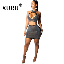 XURU Summer Sexy Diamond Dress Two-Piece Deep V-neck Wrapped Halter Club Party