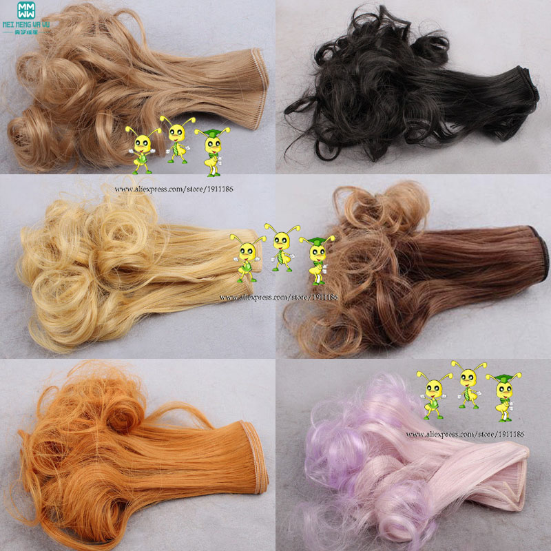 6 Colors 6Pcs/lot Hot Sale Dolls Wig Pear Head Curls BJD SD DIY High-temperature Wire Handmade Doll Wigs 15*100CM