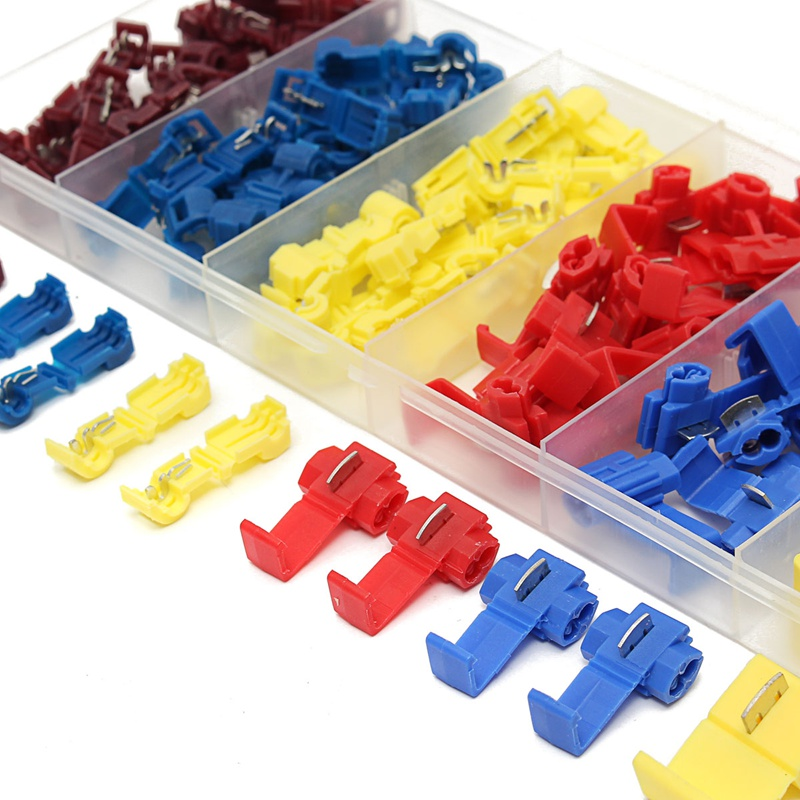 96PCS Yellow/Red/Blue Quick Fast Splice Wire Connector Terminal Crimp 22-12AWG/0.5-4.0mm 6 Size Heat Shrink Tube Sleeving Kits
