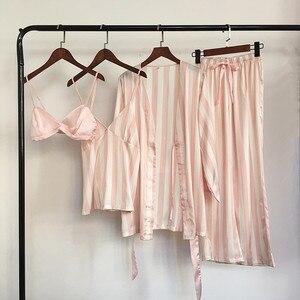 Image 2 - Autumn Women Pajamas Sets 4 Pieces Spaghetti Strap Satin Sleepwear Female Stripes Silk Long Sleeve Home Clothing Pijama