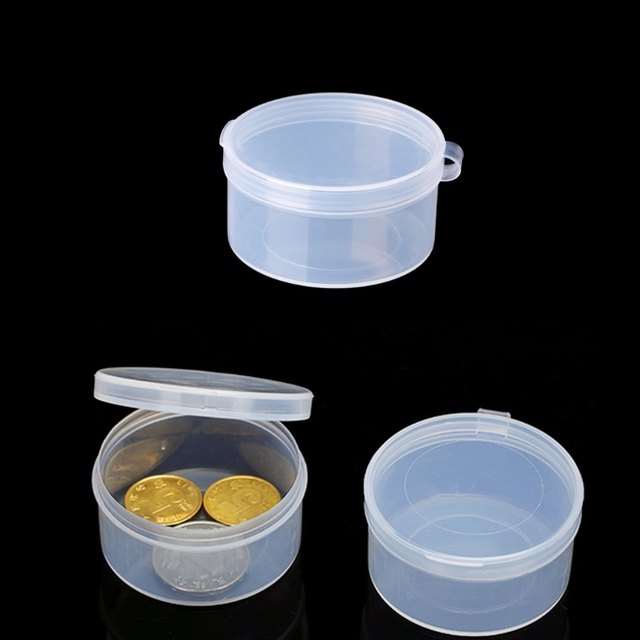 Plastic Round Clear Containers Jewelry Beads Storage Ring Box Earrings Case Necklace Organizer Woman Make Up Table
