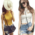 10 Colors Summer Sexy Women Knitted Tanks High Collar Sleeveless Crop Tops Camisas Mujer Elastic Tights Sweater Tanks Vest Femal