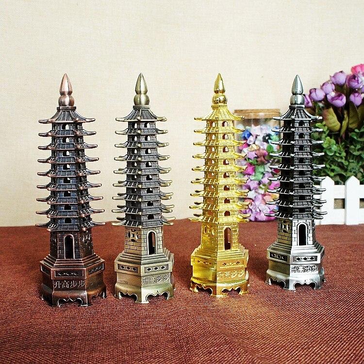 Artesanía de metal hechos a Mano China pagoda de prosperidad cultural pirámide modelo distinguida carrera Decoración para el hogar Adornos estudiantes regalo