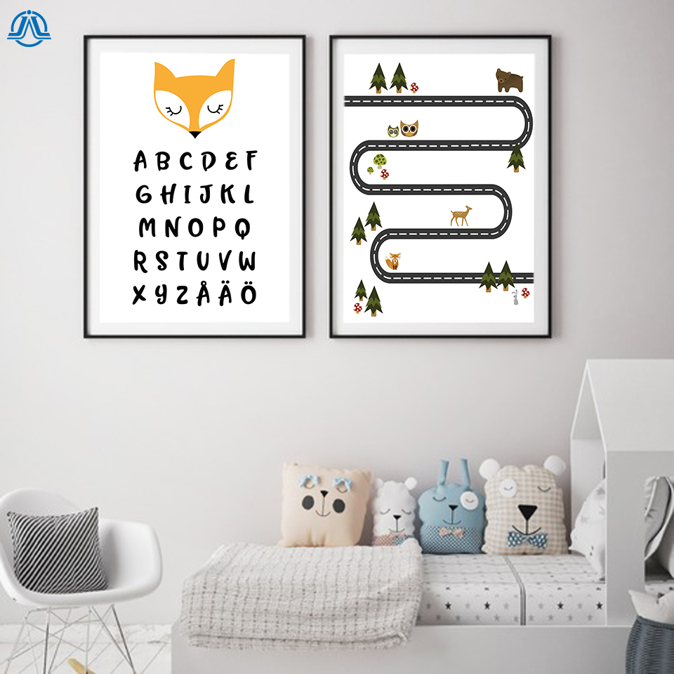 Cartoon Fox ABC Alphabet Canvas Painting Poster and Prints Baby Animal Nursery Wall Picture for Children's Room Home Decoration