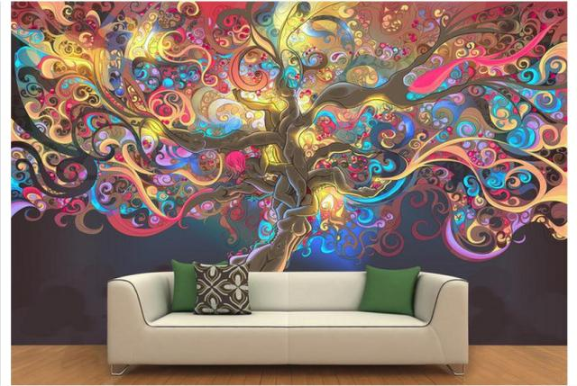 Free Shipping 3D Custom Wall Paper 2015 3 D Color Light Magic Tree Background Paintings