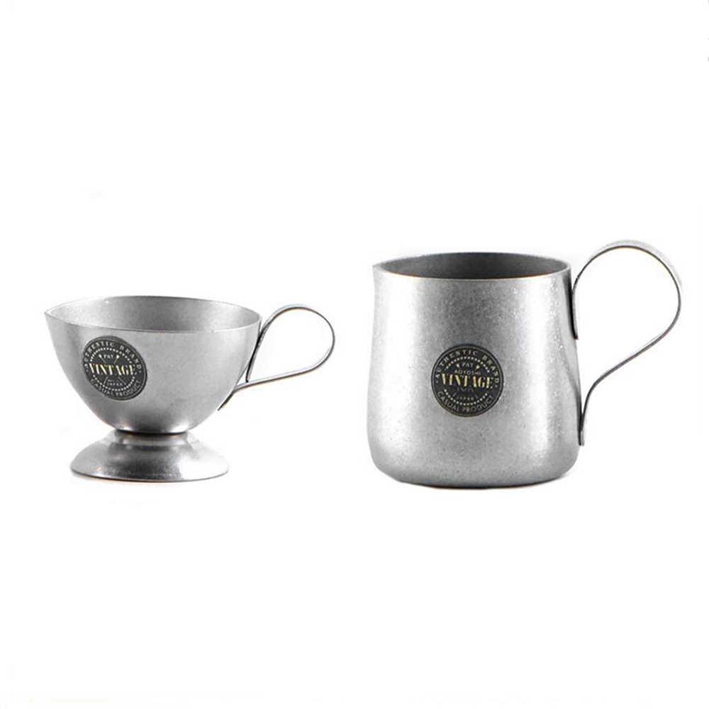 Mini Vintage In Acciaio Inox Latte Schiuma Lanciatore di Caffè Espresso Barista Tazza di Latte Cappuccino Retro Crema di Latte Brocca