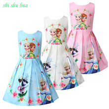 Summer Girl Clothes Dress Cartoon Print Cotton Lining Princess Vestido Infantil Baby 3-8 Y Child Quality Clothing 2019 Hot Sale