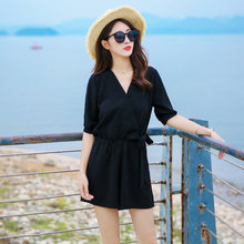 2019 Solid Black Short Rompers Loose Chiffon V Neck Jumpsuit plus size XL Tie Waist Casual Summer Sexy Deep Women Jumpsuits(China)