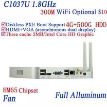 Popular mini computer Celeron 1037U aluminum fan dual core living room HTPC mini pc with USB *4 HDMI RJ45 VGA 4G RAM 500G HDD