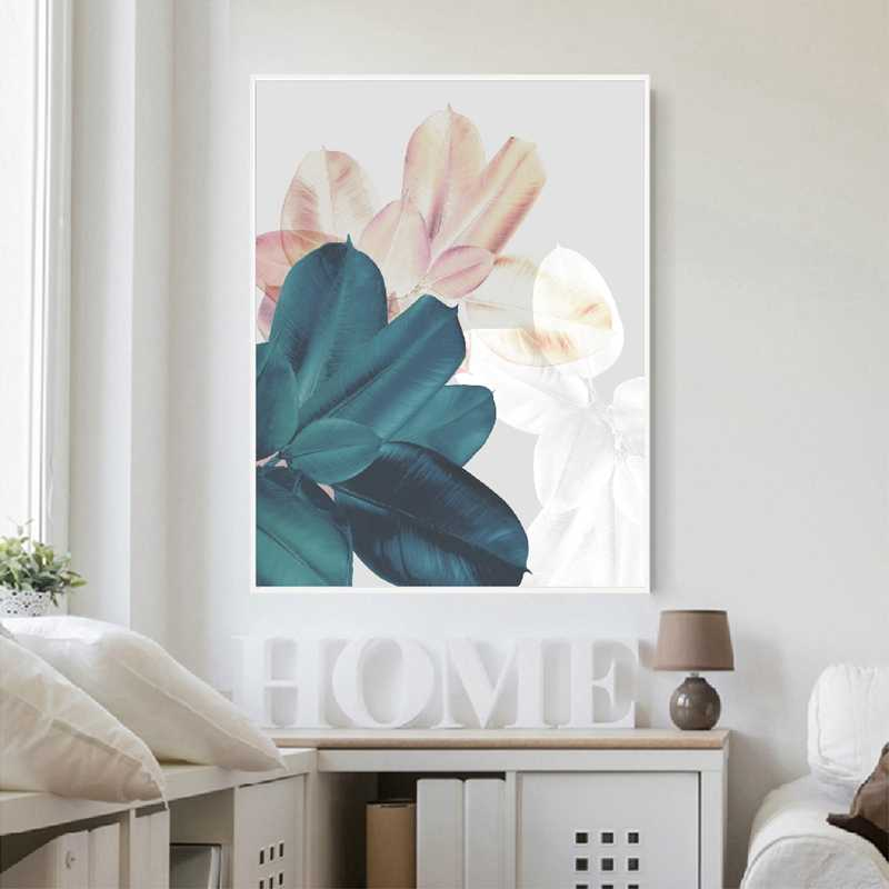 Abstract Wall Art Canvas Painting Modern Home Decor , Leaves Watercolor Nordic Posters Print Botanical Pictures for Living Room