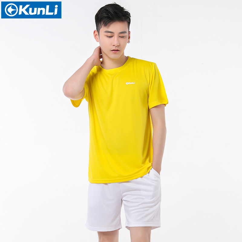 Kunli 2017 new mens tennis shirt outdoor sports O collar clothing running badminton basketball short T-shirt tee