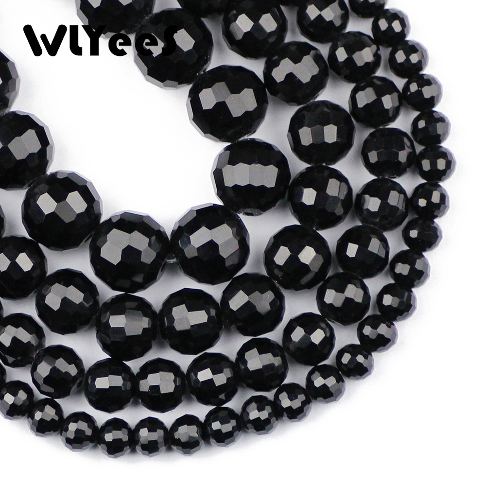 WLYeeS Hight Quality Faceted Black Glass Beads 6 8 10 12mm Round Loose Space For Jewelry Bracelet necklace Making DIY Ball