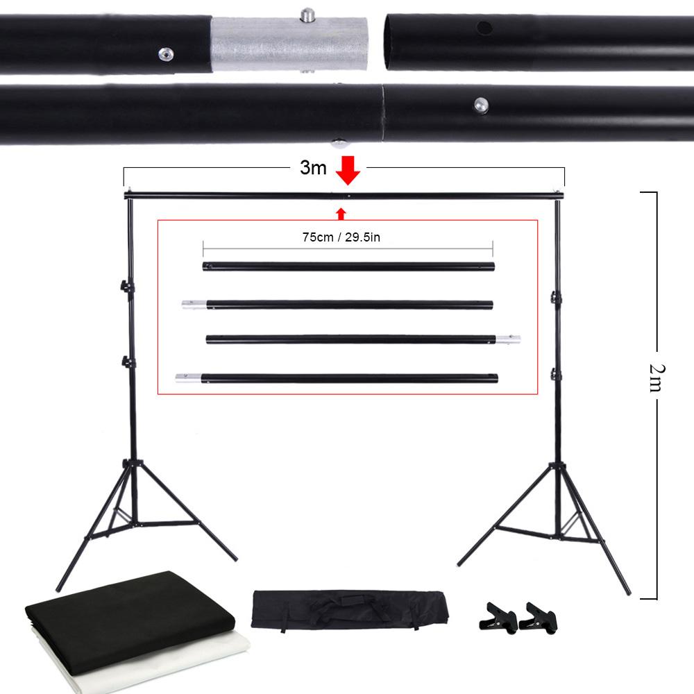 Prix pour Photo Studio Kit Set toile de fond Stand avec sac de rangement noir blanc non tissé décors et Mini Clips