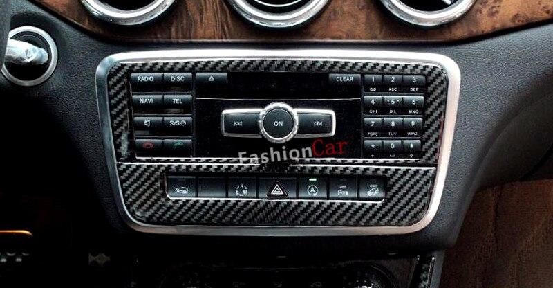 For Benz A class W176 2013-2015 B class W246 2012-2016 Interior Middle Console Surround Trim Cover Carbon fiber