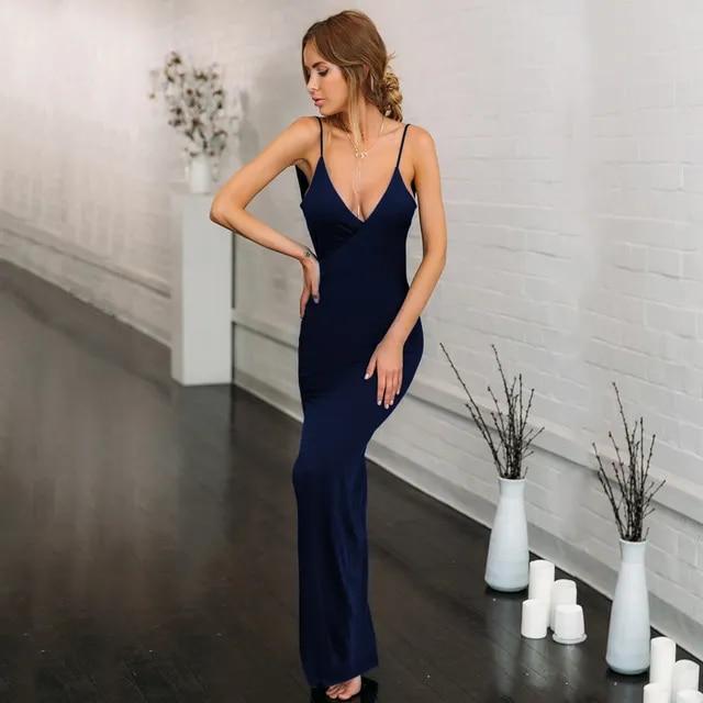 2019 Summer Women's V-neck Sling Sexy Slim Backless High Slit Dress Sleeveless Women's Clothing Eam Abito Lungo Cerimonia Donna