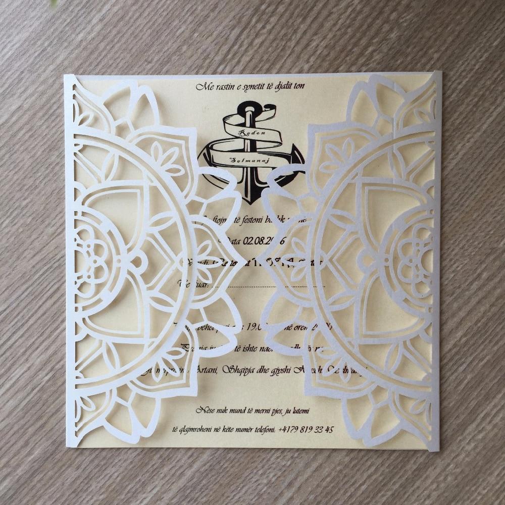 50pcs Glossy Paper Craft Modern Design Wedding Invitations Cards ...