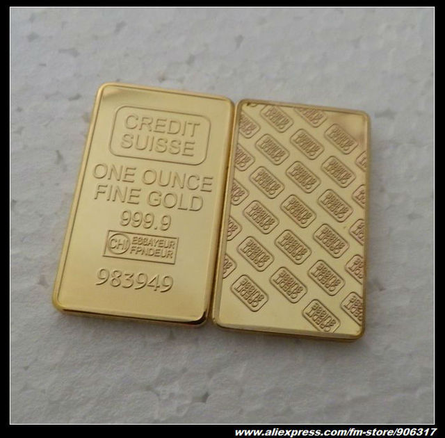 Credit suisse Fine gold replica bullion plated .999  High Quality