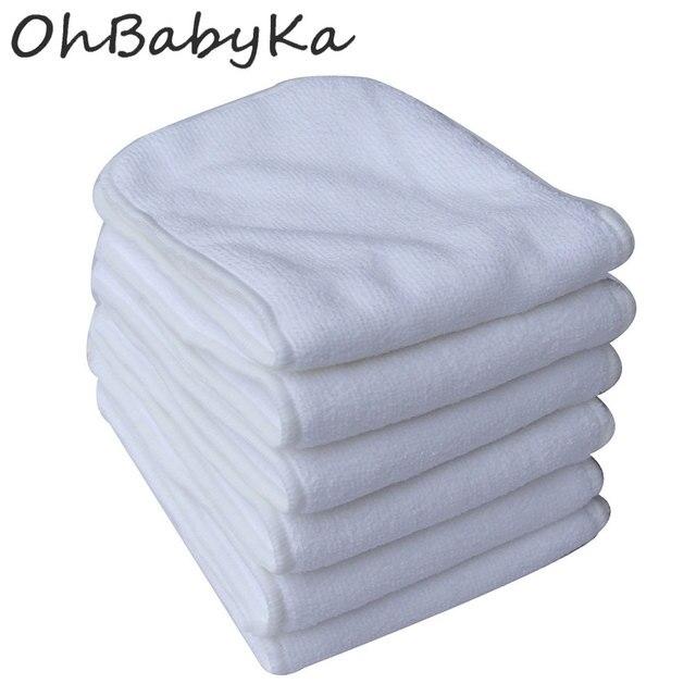 Ohbabyka 10 יח\חבילה לשימוש חוזר חיתולים רחיץ תינוק בד חיתול מוסיף 3 שכבות מיקרופייבר ספינות כיס חיתול חיתול מוסיף