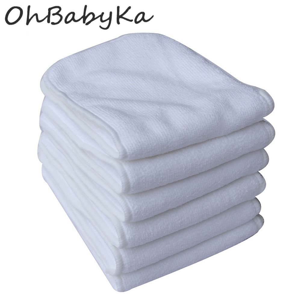 Ohbabyka 10pcs/lot Reusable Nappies Washable Baby Cloth Diaper Inserts 3 Layers Microfiber Liners Pocket Diaper Nappy Inserts