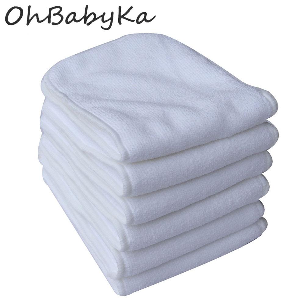 Ohbabyka 10pcs/lot Reusable Nappies Washable Baby Cloth Diaper Inserts 3 Layers Microfiber Liners Pocket Diaper Nappy Inserts цена