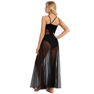 Image 5 - iEFiEL Womens Adult Spaghetti Strap Mesh Maxi Dancewear with Built In Gymnastics Leotard Ballerina Ballroom Dance Class Dresses