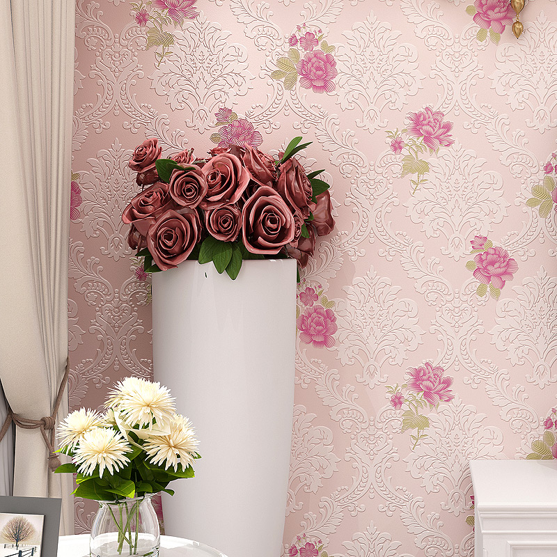 Pastoral European Style Flowers 3D Damascus Non-woven Wallpaper Roll Living Room Marriage Room Bedroom TV Background Wallpaper european style 3d wallpaper for living room non woven wall paper background high grade flowers wallpaper roll home decoration