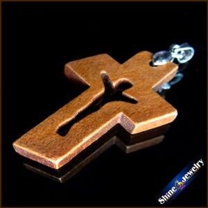 Image 2 - 100 Uds nuevas cruces de madera Natural tallado Jesús crucifijo cruz & Clip Bail Charm colgantes estatua escultura joyería para collar
