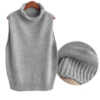 Women S Roll Turtleneck Knit Vest Tops Sleeveless Pullover Fashion Casual New All Match Women Clothing