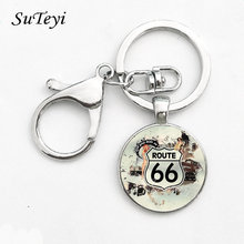 Vintage Metal Key Chain USA Route 66 Route Signs Key Ring Charming Men And Women Gifts Round Glass Cabochon Pendant Keychian